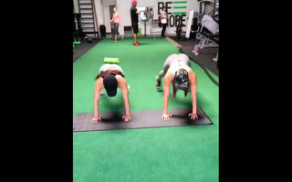 Young female athletes training in..