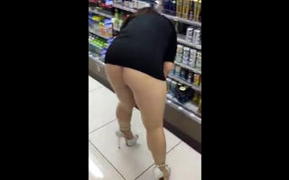 Mini skirt shopping no panties..