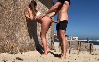 Fucked young tall GF at beach,..