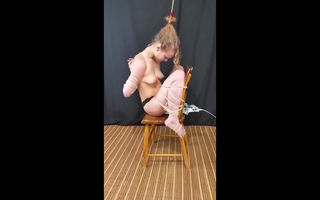 Teen cums while tied to a chair